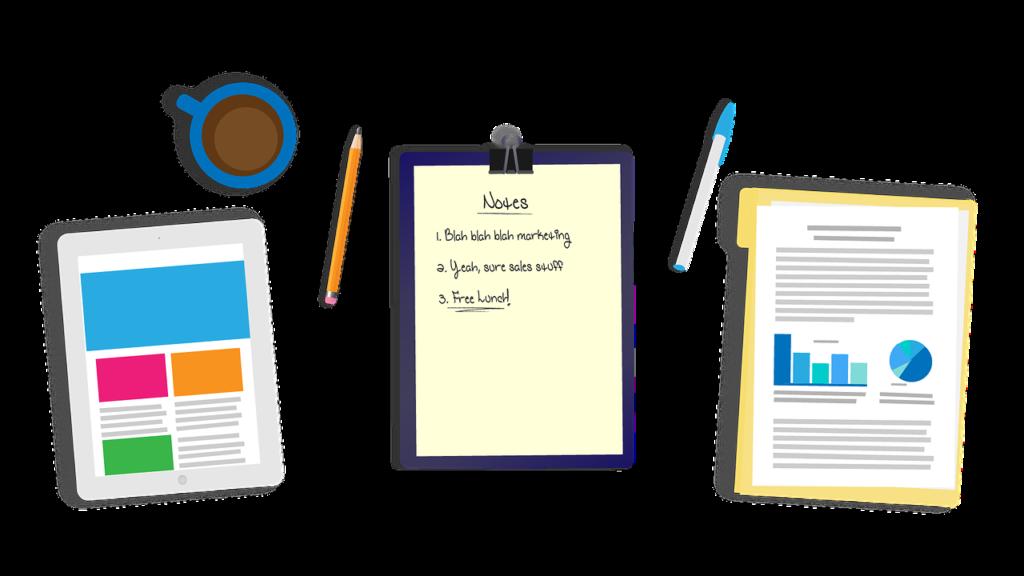 Schreibtisch-Utensilien für die Getting Things Done Methode